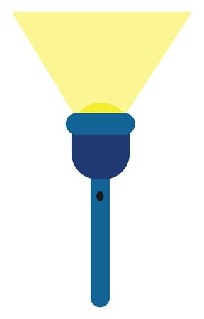 Clipart of a blue-colored torchlight short enough to fit in the pockets or handbags and when turned on generates a focused spotlight vector color drawing or illustration