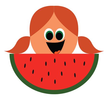 Cute cartoon girls face in two ponytails  green eyes rolled down  with a slice of watermelon in her front is laughing with her tongue stuck out  vector  color drawing or illustration Stock Illustratie