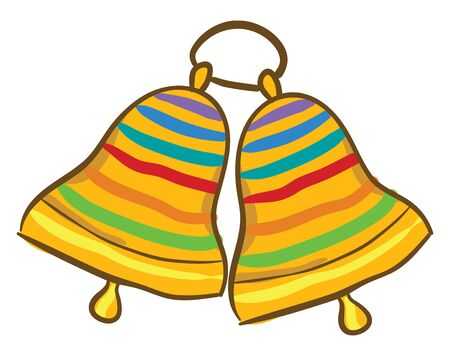 Painting of two ringing golden bells with multi-colored bands design hung together and are on the same metallic loop  vector  color drawing or illustration