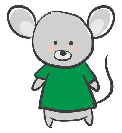 Drawing of a grey mouse in a green t-shirt has large ears  and a long black-colored tail looks happy while standing  vector  color drawing or illustration