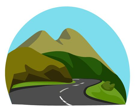 Portrait of a mountainous road with few brown mountains and green shrubs  a clear blue sky completes the background  vector  color drawing or illustration