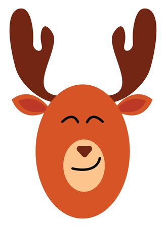 Emoji of a moose in brown color with palmate antlers  round-shaped face  inverted triangle-like nose  oval-shaped ears with eyes closed is smiling  vector  color drawing or illustration