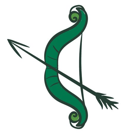 Clipart of a bow aimed with an arrow both green in color stands upright and ready to be shot by a bowman  vector  color drawing or illustration