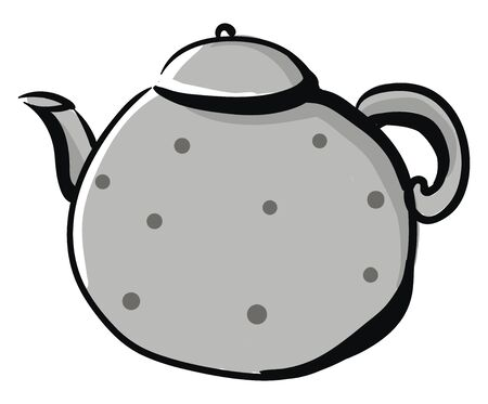 Clipart of a grey-colored kettle designed with black polka dots has a lid  a spout  a handle to carry easily   vector  color drawing or illustration  イラスト・ベクター素材