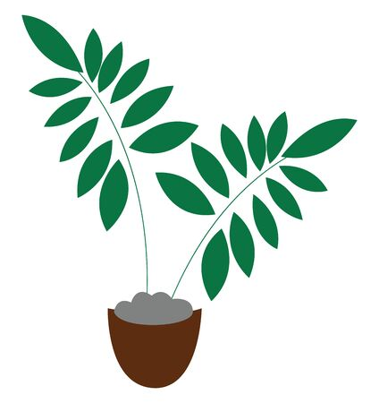 Clipart of a brown pot with green plants that has ovate-shaped leaves  vector  color drawing or illustration Vettoriali