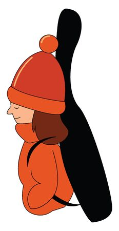 Cartoon girl musician dressed in her orange jacket  orange woollen hat  hands tucked in her dress pockets  carries a black guitar backpack with her eyes closed  vector  color drawing or illustration