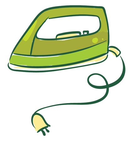 Painting of a hollow green-colored flatiron heated by inserting a hot iron core equipped with a peach-colored electric plug lies on the floor  vector  color drawing or illustration