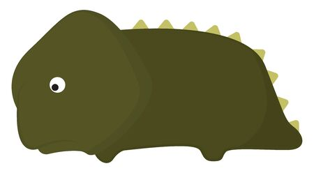 Sad green cartoon dinosaur with a bulging eye and yellow spines on its back is lying down  vector  color drawing or illustration