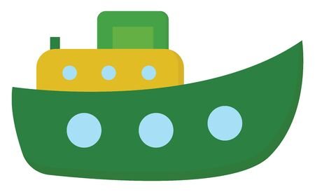 A steamboat ship  steam  and hull in green color designed with circular blue spheres  superstructure in yellow with circular blue compartments  vector  color drawing or illustration