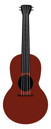 Clipart of a guitar with a maroon body  black-colored soundhole  neck  tuners  and headstock  has five strings  vector  color drawing or illustration Illusztráció