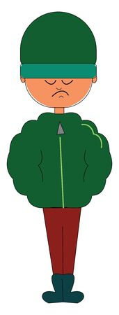 Clipart of a man standing in his winter clothes with his hands tucked in his green jacket  green woollen hat  red pant  is sad while his eyes closed   vector  color drawing or illustration