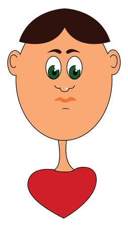 Cartoon funny boy with a heart-shaped red body  eyes rolled down  black hair covering only the front and center portion of the body  orange lips looks sad  vector  color drawing or illustration Illustration