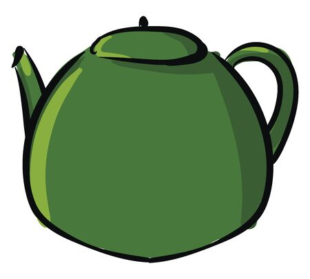 Clipart of a green kettle equipped with a lid  a spout  and a handle to carry easily   vector  color drawing or illustration