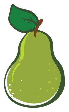 Clipart of a green pear of oblong-shape in which a broad base end tapers upward to a narrow stalk end with a green leaf  vector  color drawing or illustration