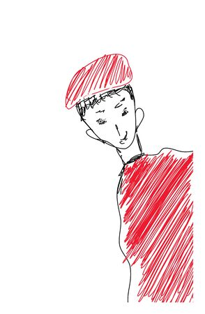 Sketch drawing of a skinny guy in a red-colored hat and costume peeps out with shyness  vector  color drawing or illustration Vettoriali