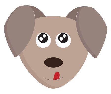 Cartoon funny grey dogs face with two oval ears pointing downward  eyes rolled up  oval-shaped nose and tongue stuck out pointing upward  vector  color drawing or illustration
