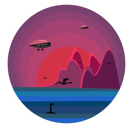 A futuristic landscape with few mountains  birds  a flying plane  and a submarine across the sea  vector  color drawing or illustration Illusztráció
