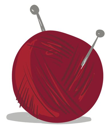 Clipart of a small ball holding yarn wrapped in red-colored wool vector color drawing or illustration