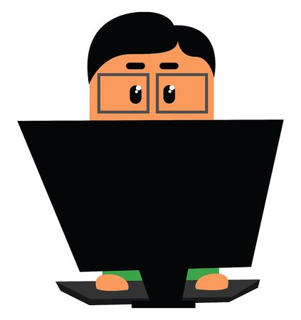 Clipart of an officer in a green shirt  rectangular glass lenses with no frame looks in dismay while sitting and working before the laptop  vector  color drawing or illustration