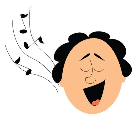 Portrait of the face a funny-looking man with his mouth wide opened and musical notes drifting through the air as he sings  vector  color drawing or illustration