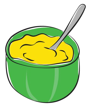 Cartoon giant green bowl with a silver spoon  filled with mashed potatoes yellow in color is ready to be tasted  vector  color drawing or illustration