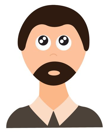 Clipart of a man in a brown shirt with eyes rolled up has brown hair and a well-groomed  stylish beard   vector  color drawing or illustration