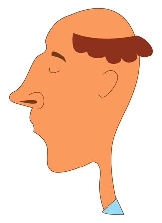Portrait of a funny-looking man with hair covering only the side of his head  with his eyes closed expresses sadness  vector  color drawing or illustration