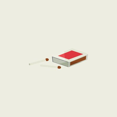 Cartoon matchbox with two unburnt sticks lying closer is ready to ignite the surrounding with bright light  vector  color drawing or illustration