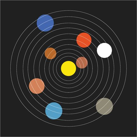 The basic minimalistic form of the solar system in a range of colors without decoration set over black background  vector  color drawing or illustration Иллюстрация