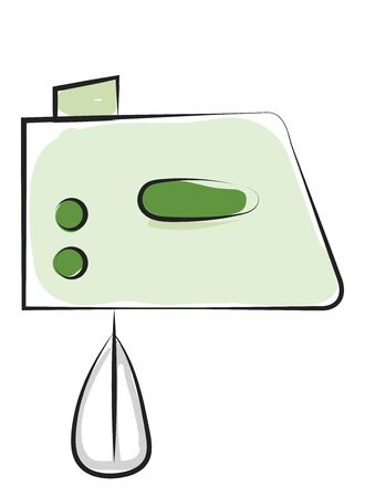 Drawing of an electric egg beater in green color furnished with buttons and stainless steel beaters to facilitate the kneading function  vector  color drawing or illustration