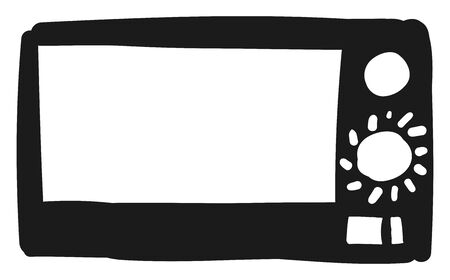 Drawing of a black-colored smart and compact designed microwave oven furnished with buttons to keep the food warm and delicious  vector  color drawing or illustration