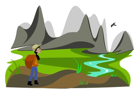 Portrait of a lady hiker in an orange shirt and blue pant wears a big brown backpack is admiring the scenery while walking near the mountains  vector  color drawing or illustration