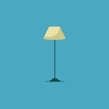 A night semi-hexagonal lamp in sits beautifully atop a wooden brown stem with a weighted  sturdy base  gives off warm  beautiful yellow light  vector  color drawing or illustration