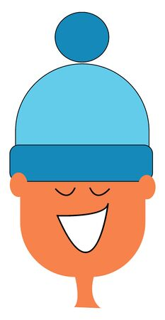 Cartoon boy in a blue woollen hat with his eyes closed is laughing  vector  color drawing or illustration Illusztráció