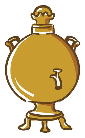 A highly decorated tea urn brown in color with a lid  two handles to carry  small tap at its front  is equipped with legs for the whole set-up to stand  vector  color drawing or illustration