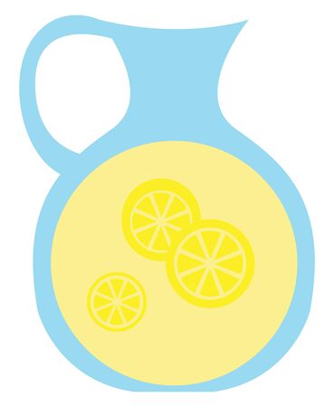 Clipart of a blue jar provided with a handle  filled with lemon juice and three sliced pieces of lemon is ready to be enjoyed  vector  color drawing or illustration
