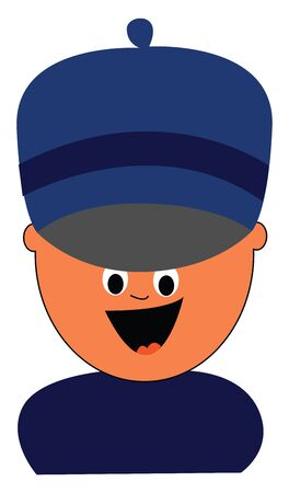 Cartoon boy in a blue costume and a big blue-colored hat  eyes rolled down  and tongue stuck out looks happy while laughing  vector  color drawing or illustration Çizim