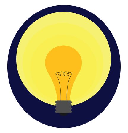 A yellow light bulb with black-colored contact wires  tow eyes  and a silver metal base or electric foot emits yellow light  over a blue background  vector  color drawing or illustration