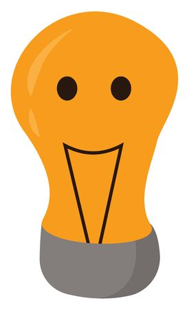 A smiling yellow-colored cartoon light bulb  expressing happiness has black-colored contact wires  two eyes  an exclamation mark  and a silver metal base  vector  color drawing or illustration 向量圖像