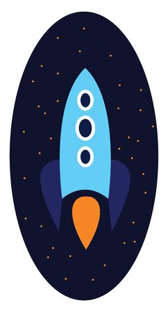 Clipart of a blue rocket at aviation over the sky and twinkling stars as the background  vector  color drawing or illustration Çizim