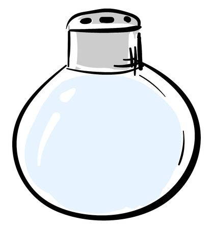 Blue-colored round salt holder filled with salt has few small-sized pores and is all ready for seasoning food  vector  color drawing or illustration