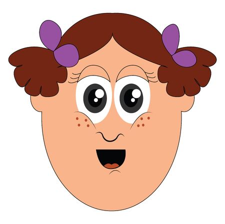 Portrait of a happy little girl's face with two ponytails tied up together with purple ribbons and red tongue exposed while mouth wide opened  vector  color drawing or illustration Illustration