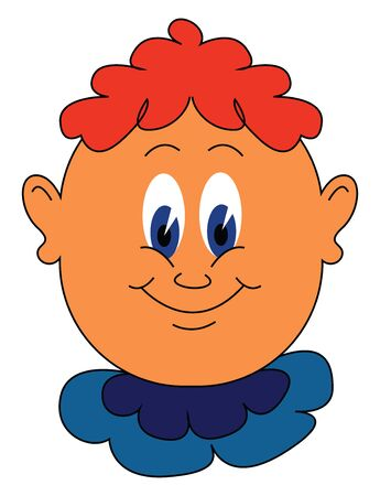 Cartoon of a funny little boy in a blue costume and orange hair covering only the center part of the head  blue eyes rolled down while smiling  vector  color drawing or illustration