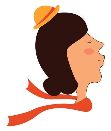 A smiling young woman in a small orange hat with a red ribbon ar its base and the red shawl tied around her neck flows in the air while her eyes closed  vector  color drawing or illustration