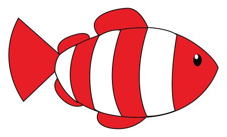 Painting of a cute little white fish with red band-like scales has a triangular tail and nearly oval-shaped fins  vector  color drawing or illustration 向量圖像