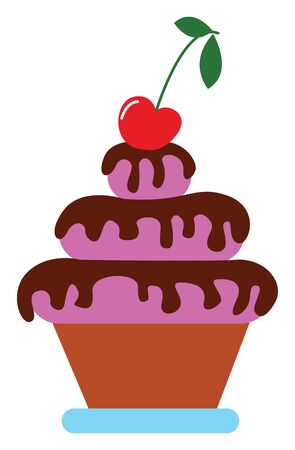 Earthen pot potted with shades of radiant orchid fondant covering the amazing 3-tiered cake with chocolate drippings and apple fruit on top of it  vector  color drawing or illustration