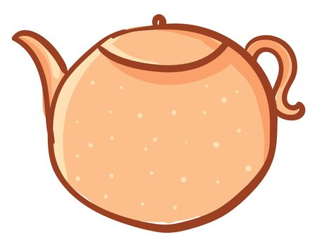 Clipart of a round-shaped orange kettle designed with white polka dots has a lid  a spout  and a handle to carry easily   vector  color drawing or illustration