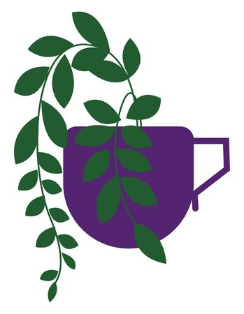 Clipart of a creepy little plant grown on a violet-colored coffee cup furnished with a handle looks marvelous  vector  color drawing or illustration