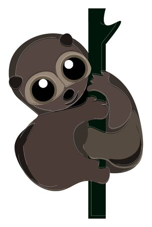 Cartoon loris primate in shades of radiant brown has no tail and smiles while climbing on the branches of the tree  vector  color drawing or illustration