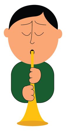 Cartoon musician in a green shirt blowing a trumpet with his eyes closed  vector  color drawing or illustration Ilustração